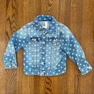 H&M Girls Jean Jacket With White Dots size: 3-4T